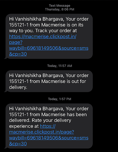 automated order status tracking sms
