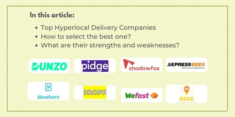 Top 10 Hyperlocal Delivery Companies and Partners for eCommerce