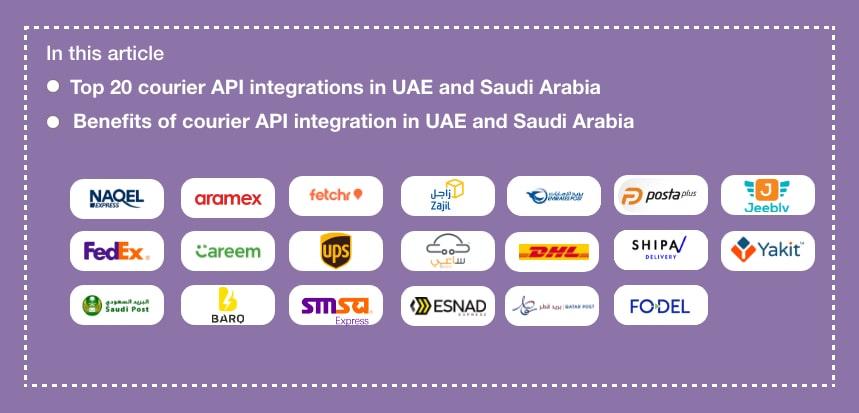 Courier API Integration in The United Arab Emirates (UAE) and Saudi Arabia