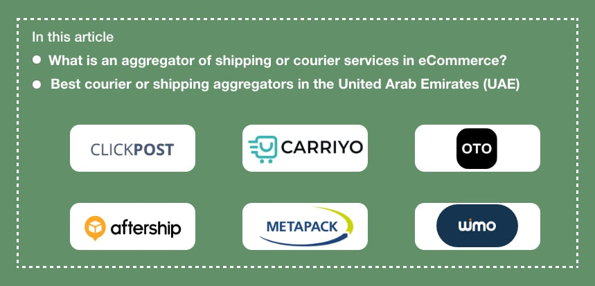 Top 10 Best eCommerce Shipping or Courier or Logistics Aggregator in The United Arab Emirates (UAE)